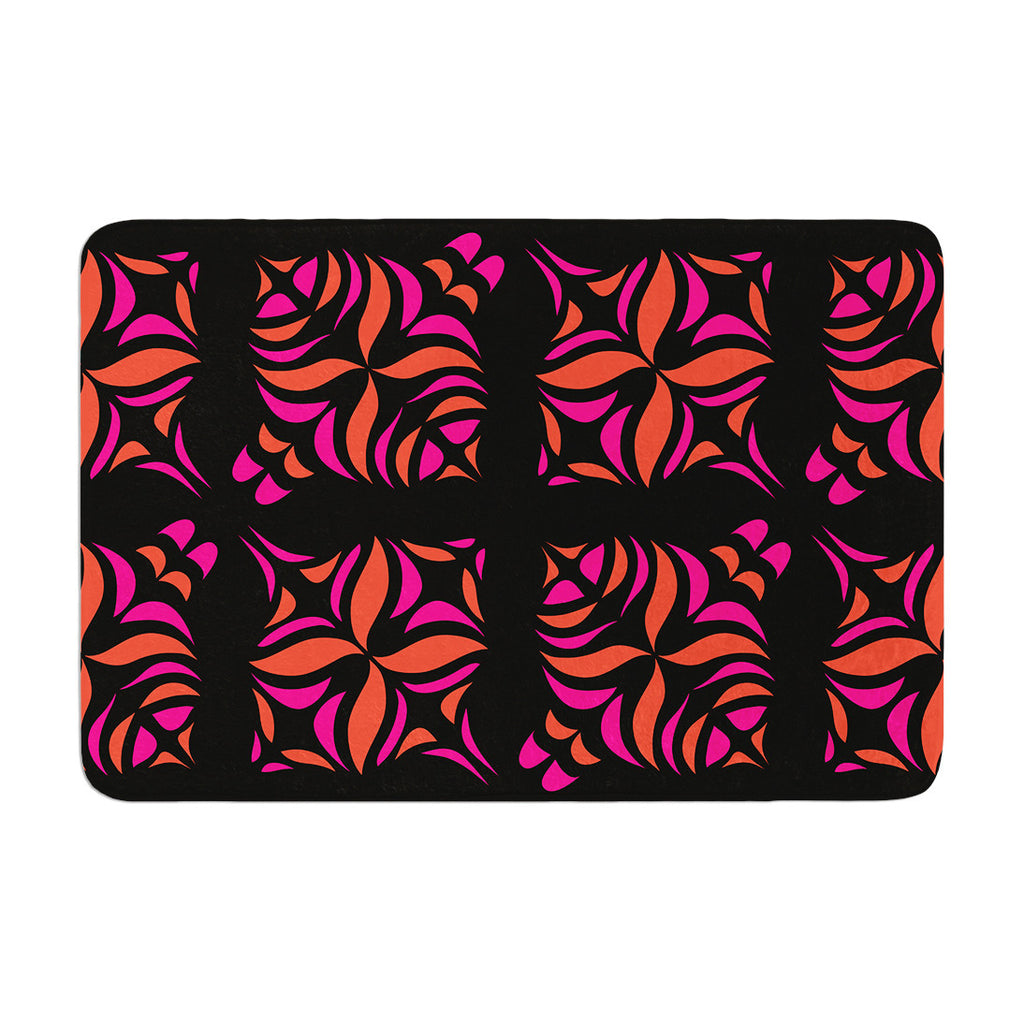 "Miranda Mol ""Orange on Black Tile"" Memory Foam Bath Mat - KESS InHouse"