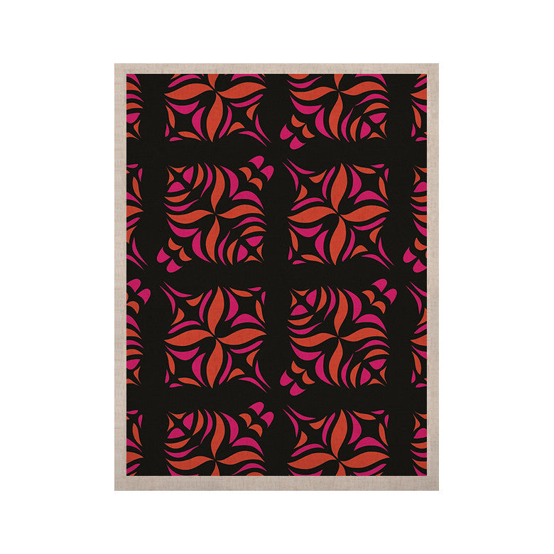 "Miranda Mol ""Orange on Black Tile"" KESS Naturals Canvas (Frame not Included) - KESS InHouse  - 1"
