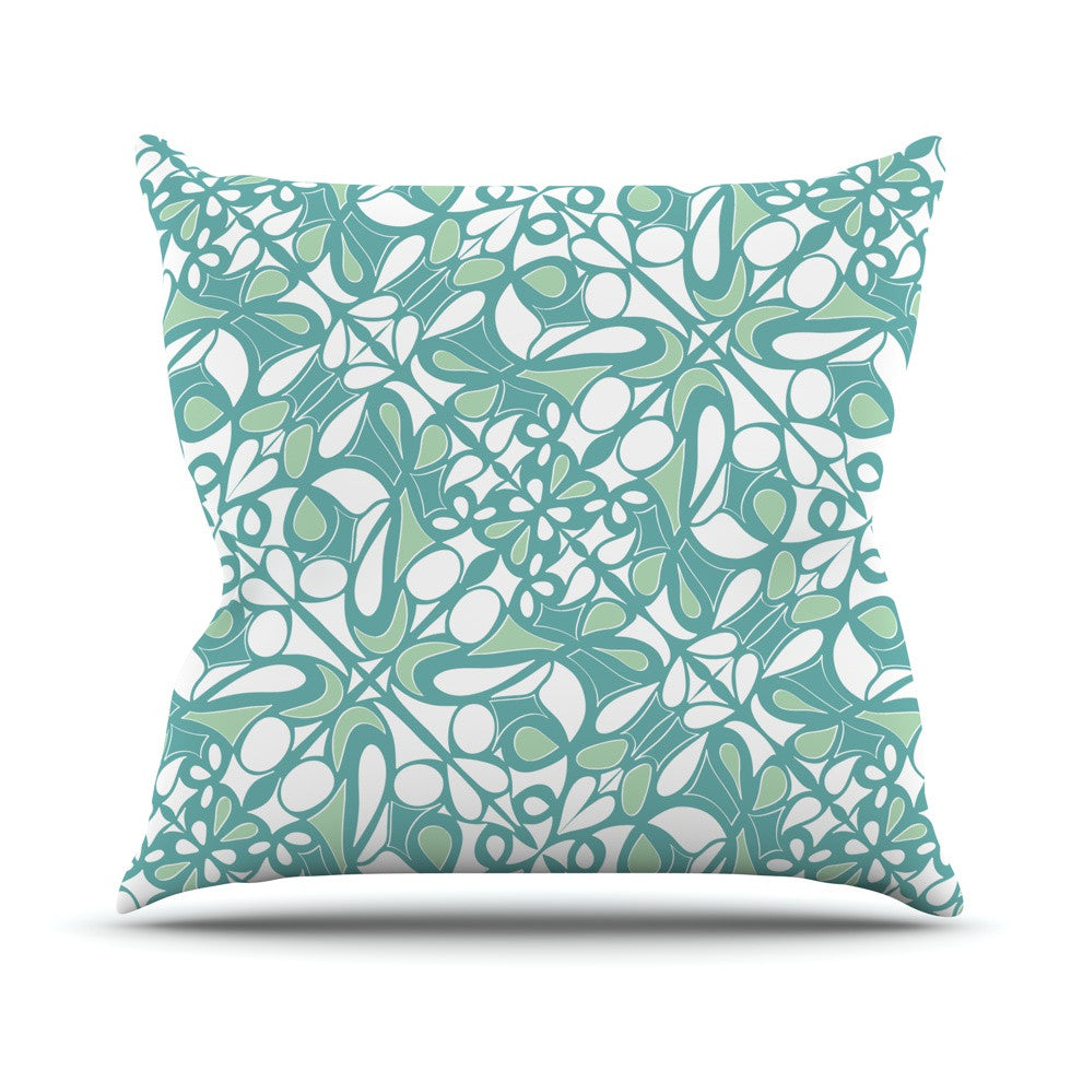 "Miranda Mol ""Swirling Tiles Teal"" Throw Pillow - KESS InHouse  - 1"