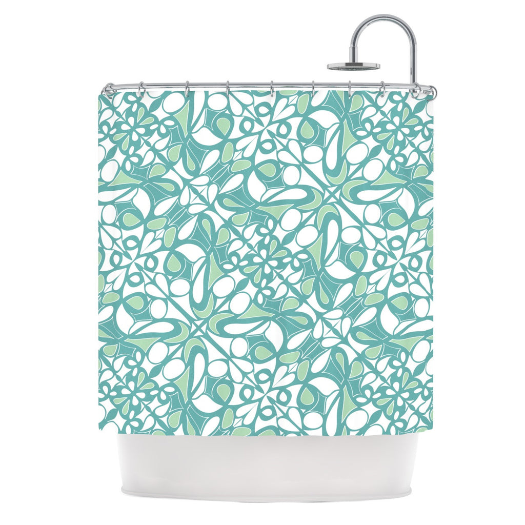 "Miranda Mol ""Swirling Tiles Teal"" Shower Curtain - KESS InHouse"