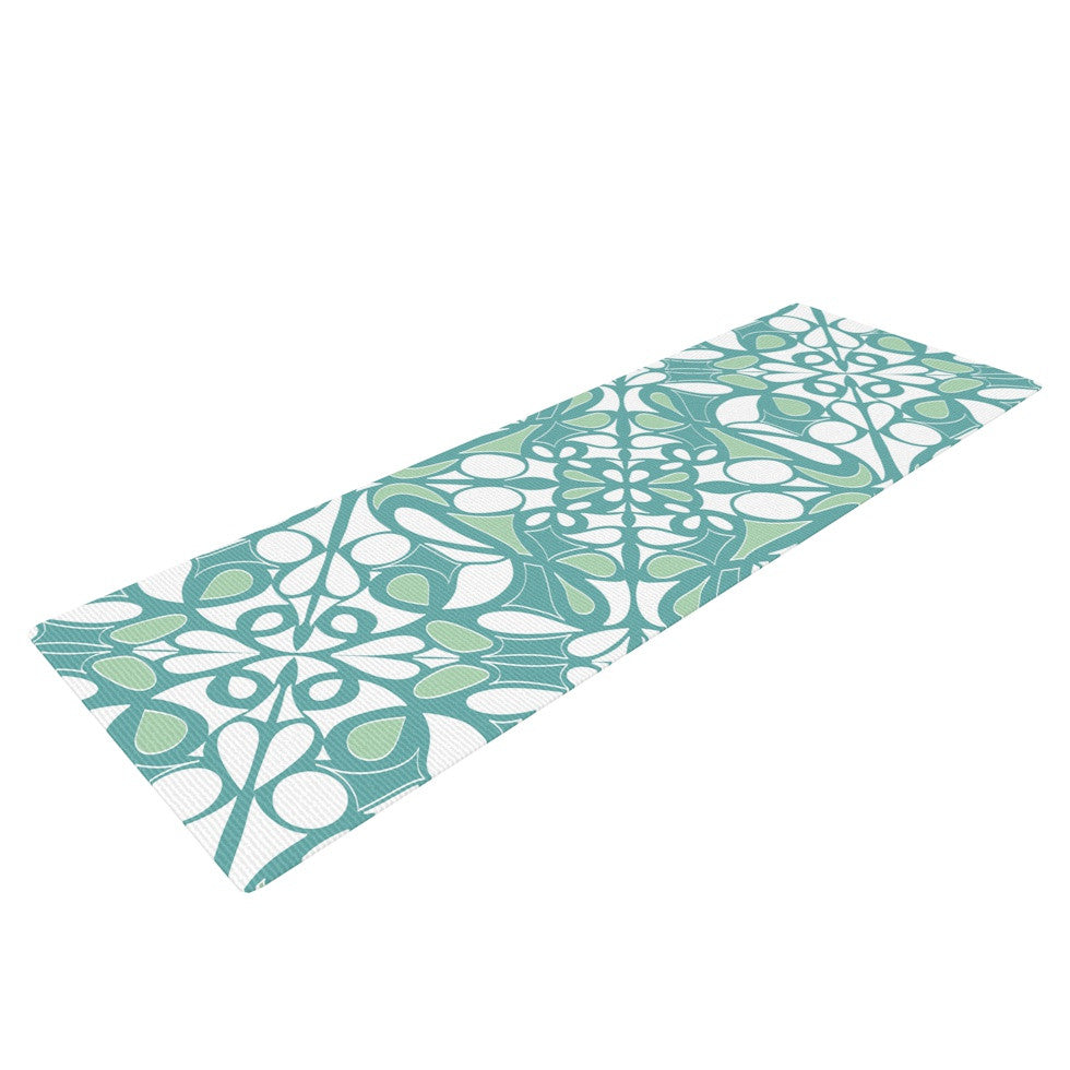 "Miranda Mol ""Swirling Tiles Teal"" Yoga Mat - KESS InHouse  - 1"