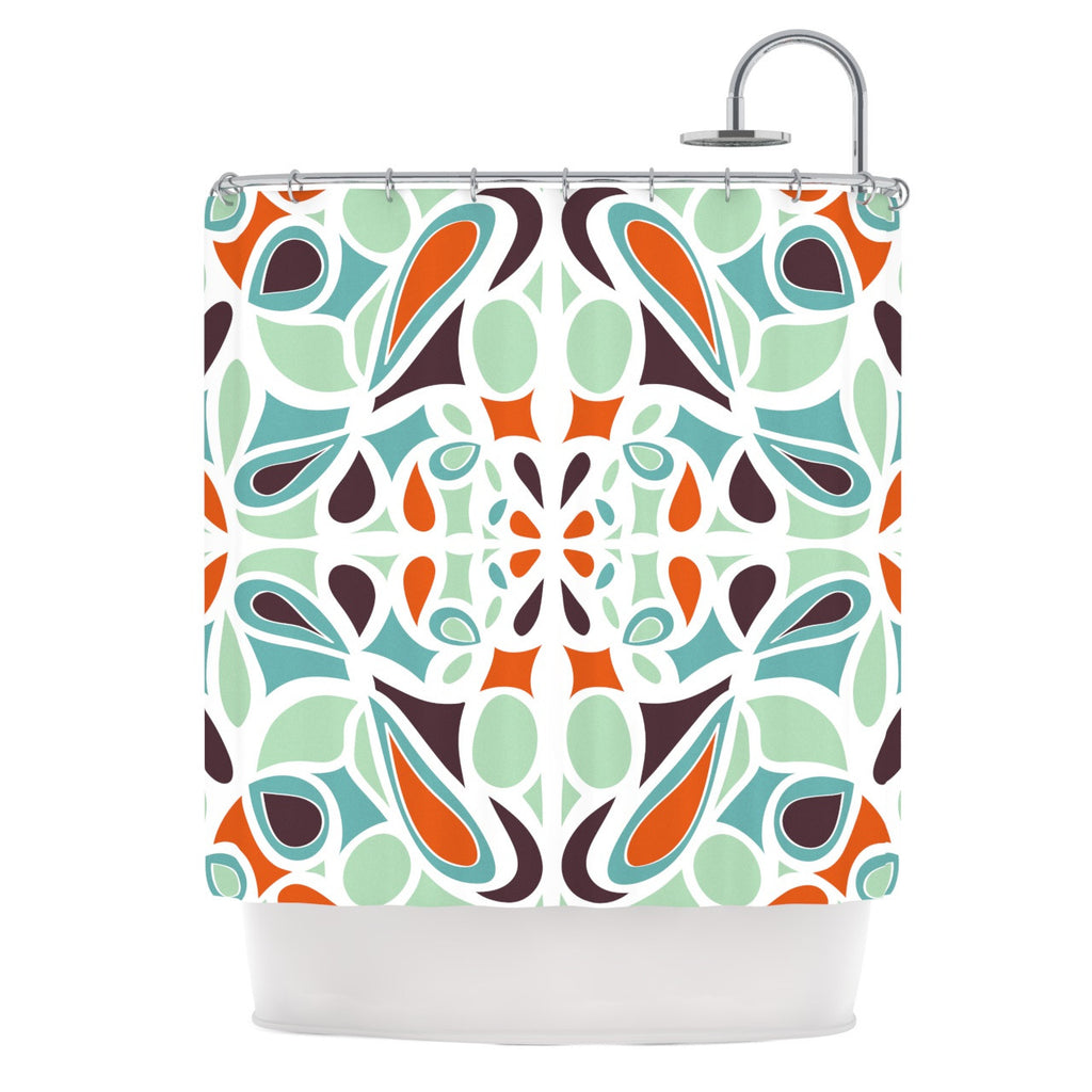 "Miranda Mol ""Orange Purple Stained Glass"" Shower Curtain - KESS InHouse"
