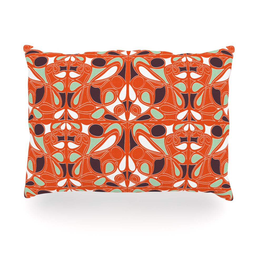 "Miranda Mol ""Orange Swirl Kiss"" Oblong Pillow - KESS InHouse"