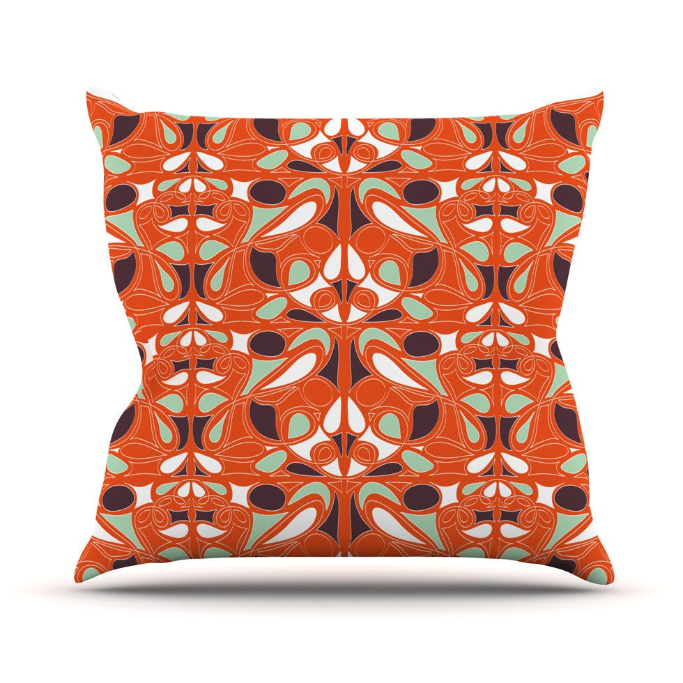 "Miranda Mol ""Orange Swirl Kiss"" Outdoor Throw Pillow - KESS InHouse  - 1"
