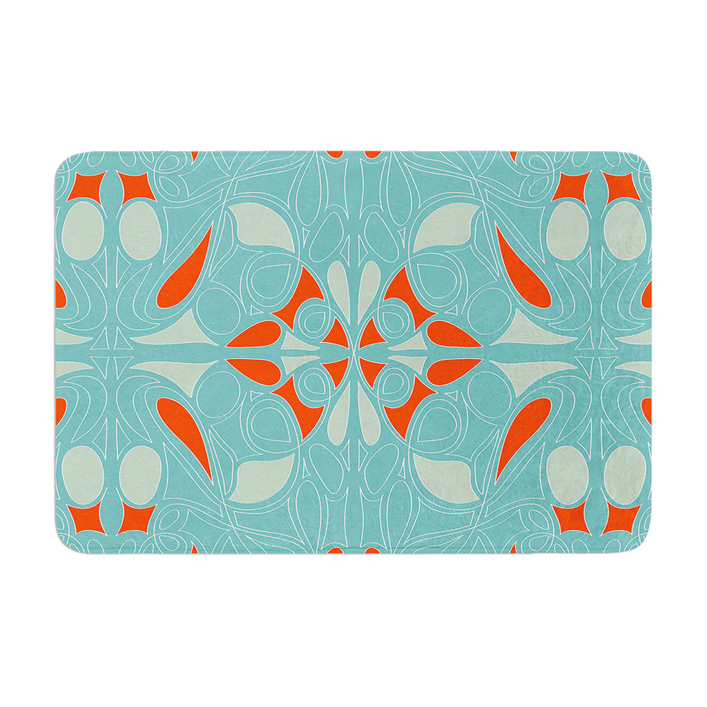 "Miranda Mol ""Seafoam and Orange"" Memory Foam Bath Mat - KESS InHouse"