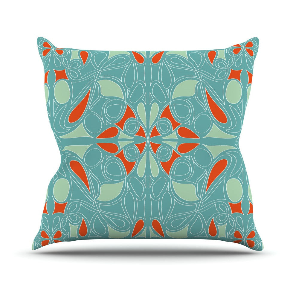 "Miranda Mol ""Seafoam and Orange"" Outdoor Throw Pillow - KESS InHouse  - 1"
