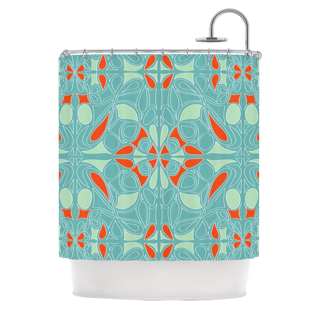 "Miranda Mol ""Seafoam and Orange"" Shower Curtain - KESS InHouse"