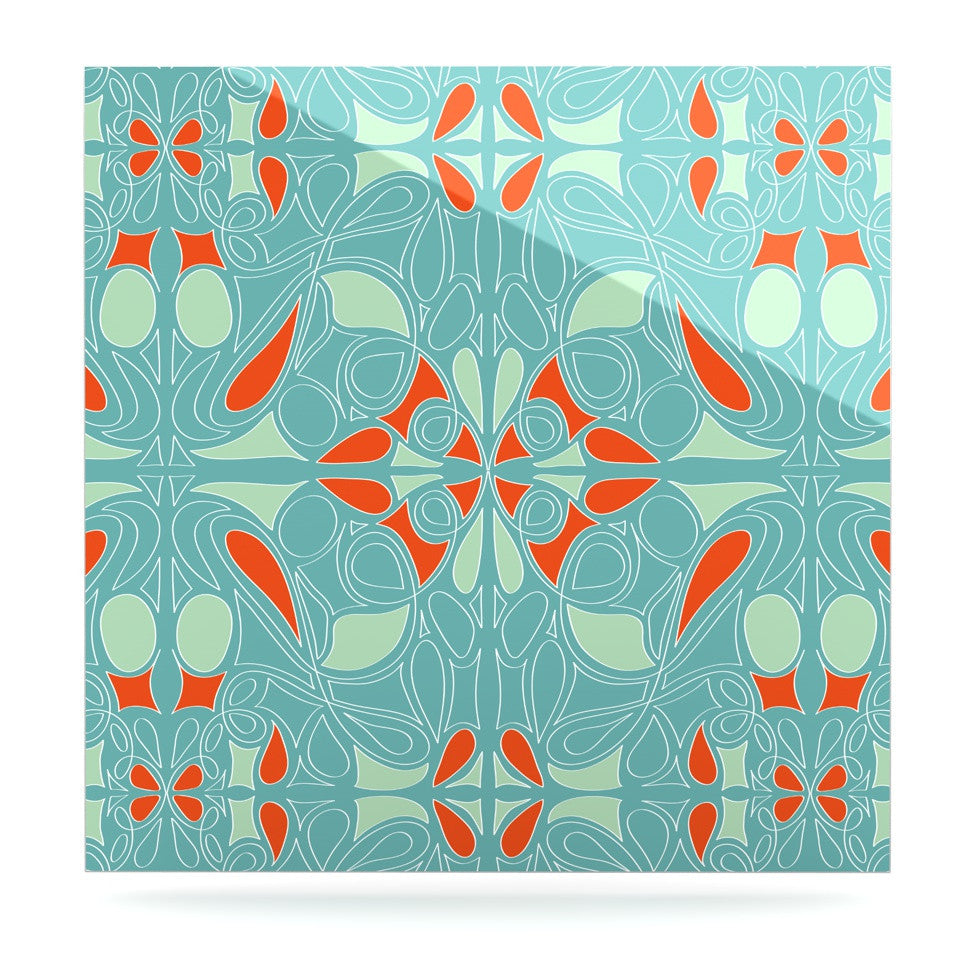 "Miranda Mol ""Seafoam and Orange"" Luxe Square Panel - KESS InHouse  - 1"