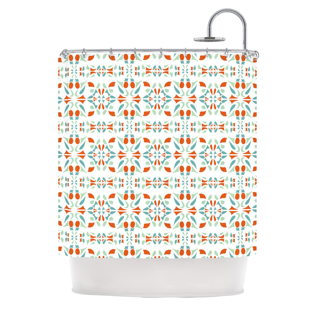 "Miranda Mol ""Italian Kitchen Orange Green"" Shower Curtain - KESS InHouse"