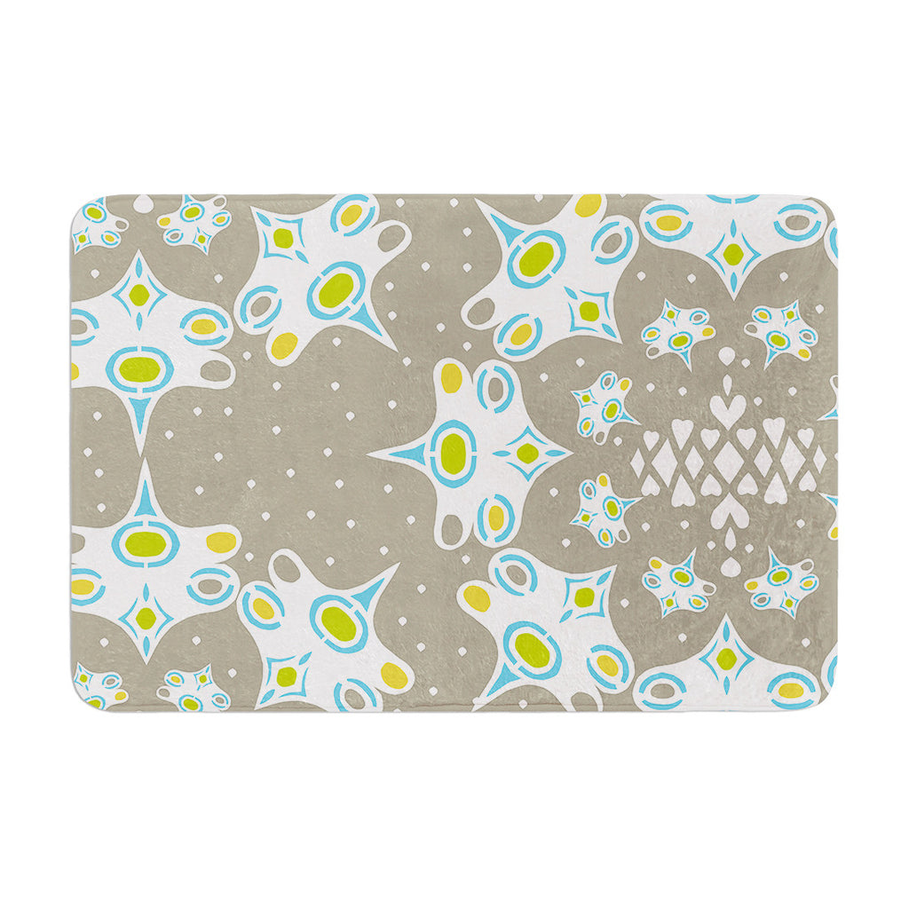 "Miranda Mol ""Ornamental Splash Silver"" Gray Memory Foam Bath Mat - KESS InHouse"