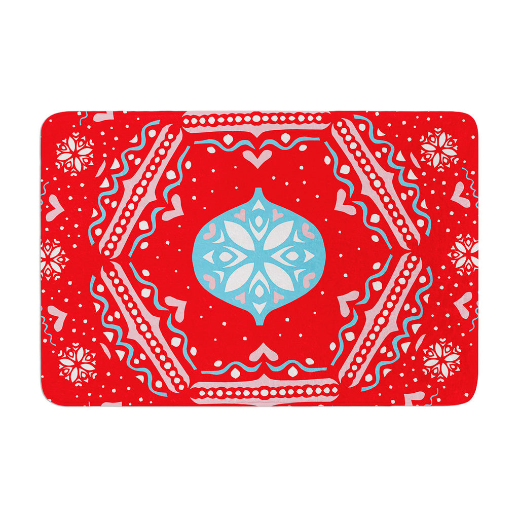 "Miranda Mol ""Snow Joy Red"" Blue Memory Foam Bath Mat - KESS InHouse"