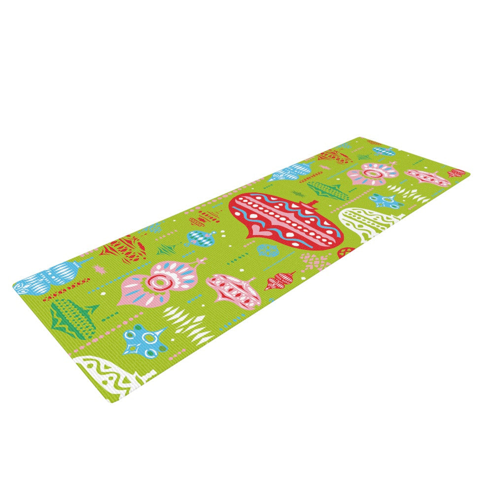 "Miranda Mol ""Ornate Green"" Ornaments Yoga Mat - KESS InHouse  - 1"