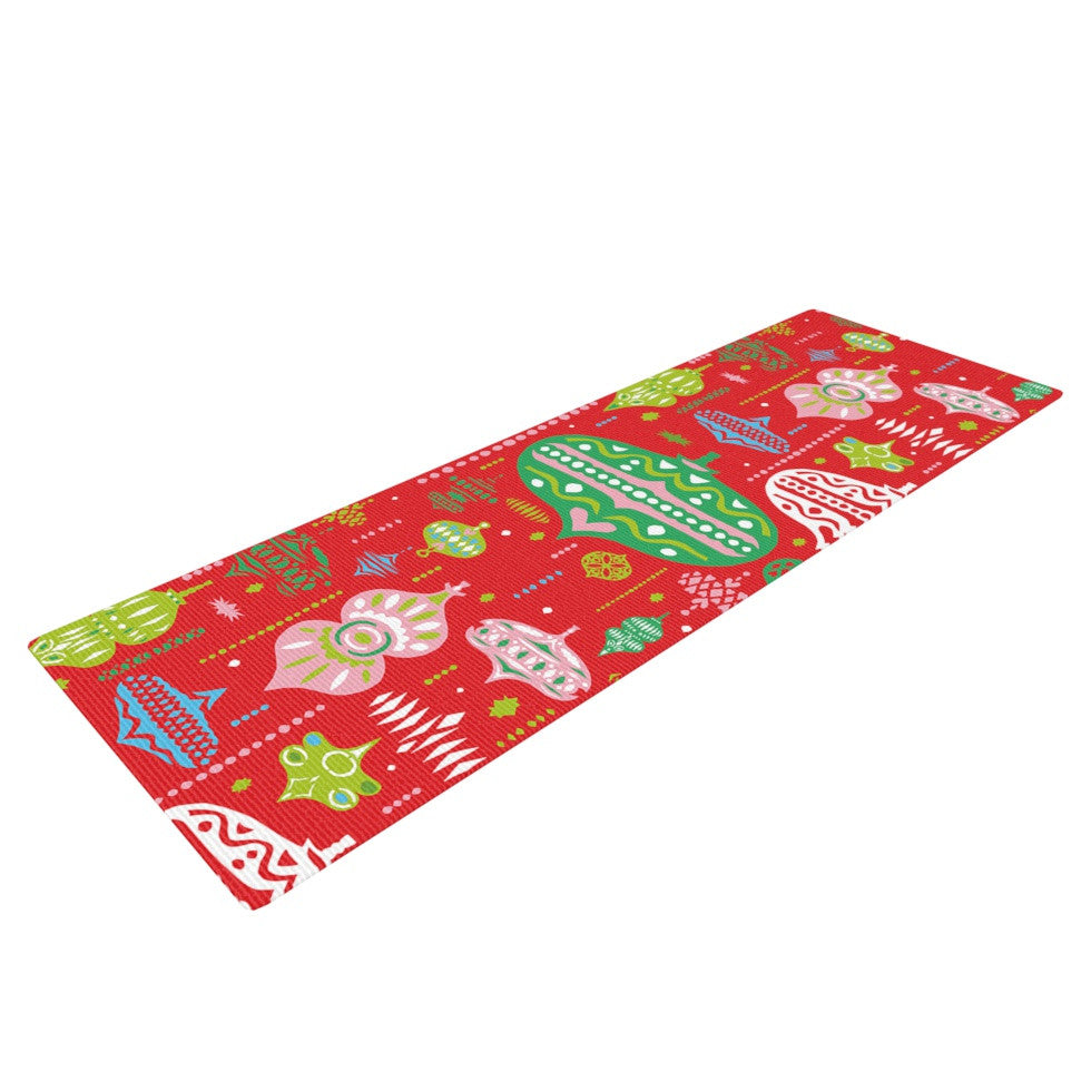 "Miranda Mol ""Ornate Red"" Ornaments Yoga Mat - KESS InHouse  - 1"
