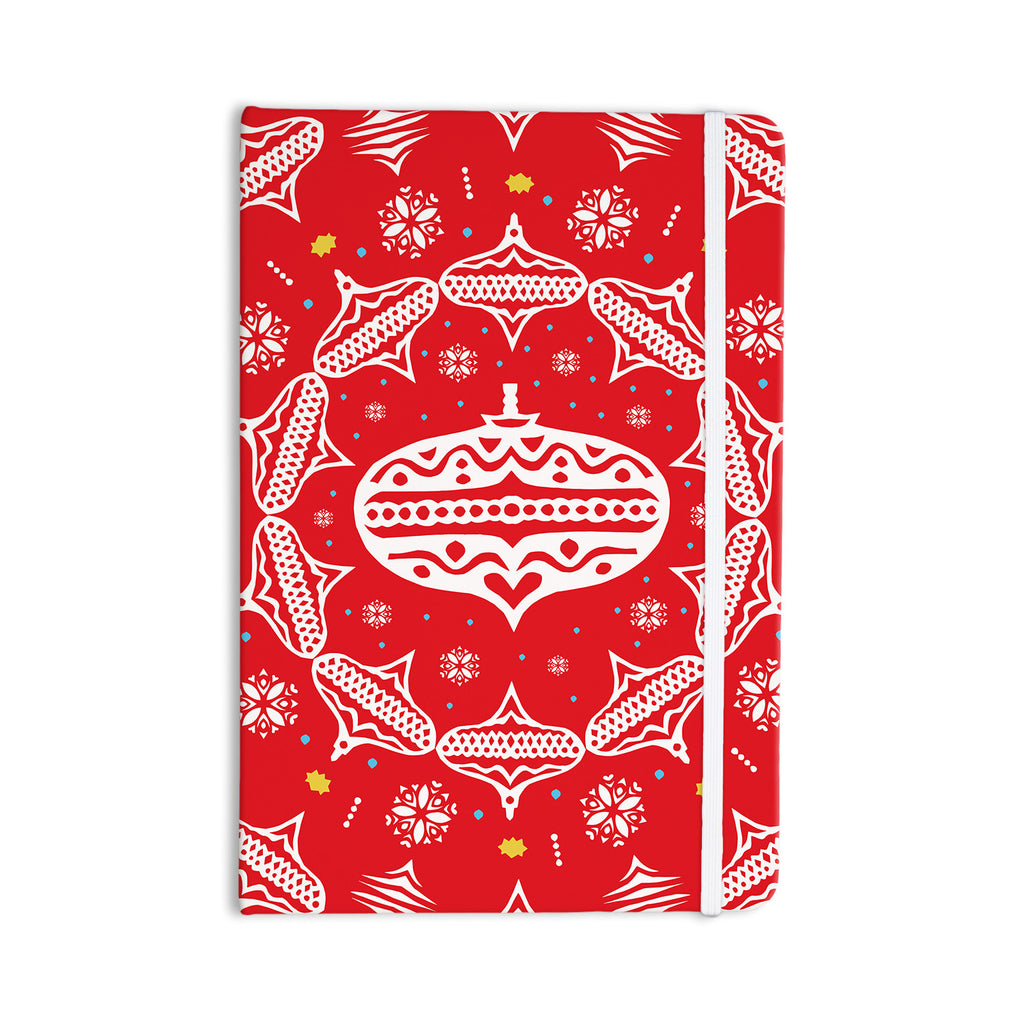 "Miranda Mol ""Deco Wreath Red"" Scarlet Everything Notebook - KESS InHouse  - 1"