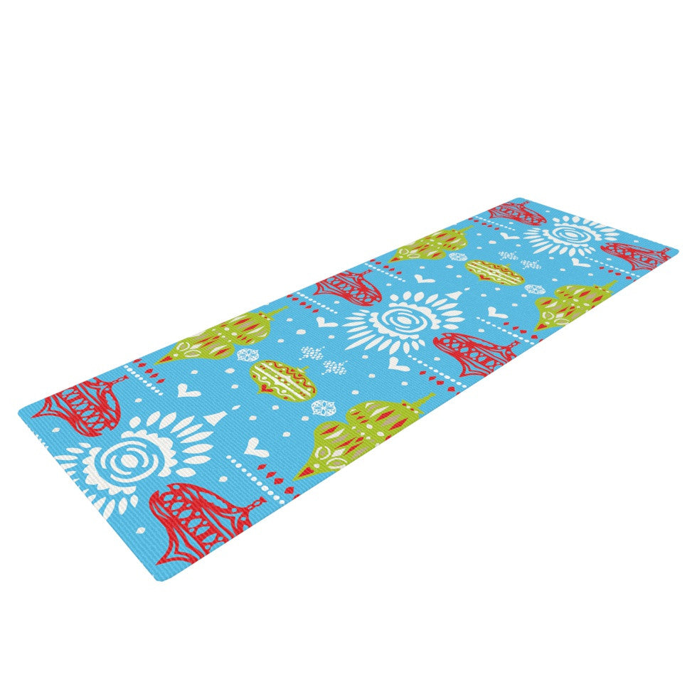 "Miranda Mol ""Deco Row Blue"" Yellow Red Yoga Mat - KESS InHouse  - 1"