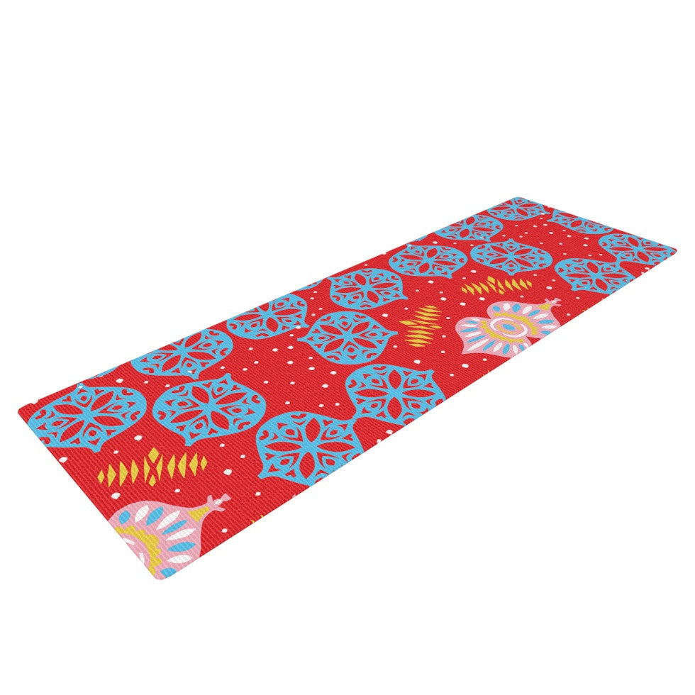 "Miranda Mol ""Frosted Red"" Blue Yoga Mat - KESS InHouse  - 1"