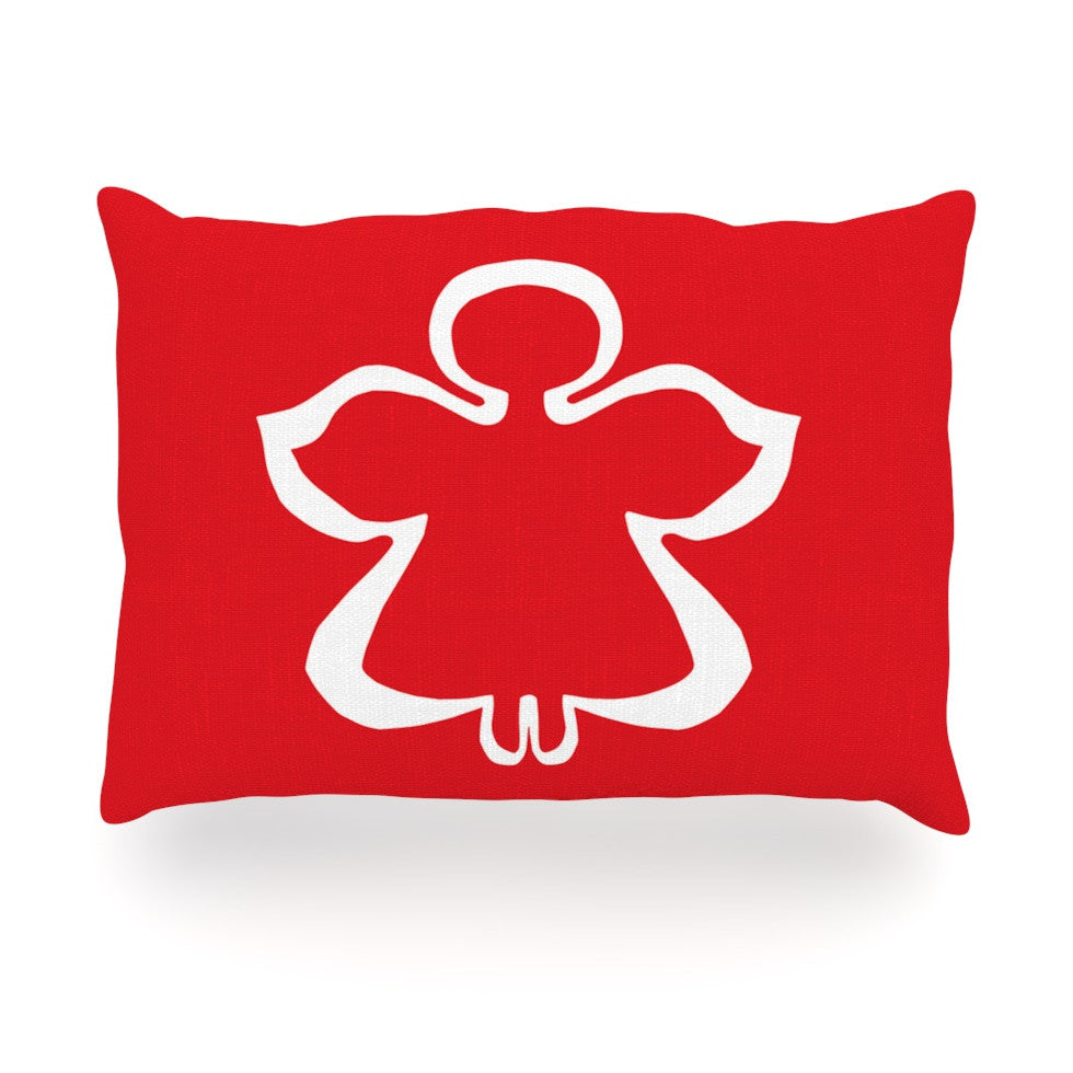 "Miranda Mol ""Flying Angel Red"" Holiday Oblong Pillow - KESS InHouse"