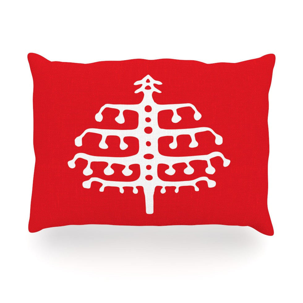 "Miranda Mol ""Deco Tree Red"" Holiday Oblong Pillow - KESS InHouse"