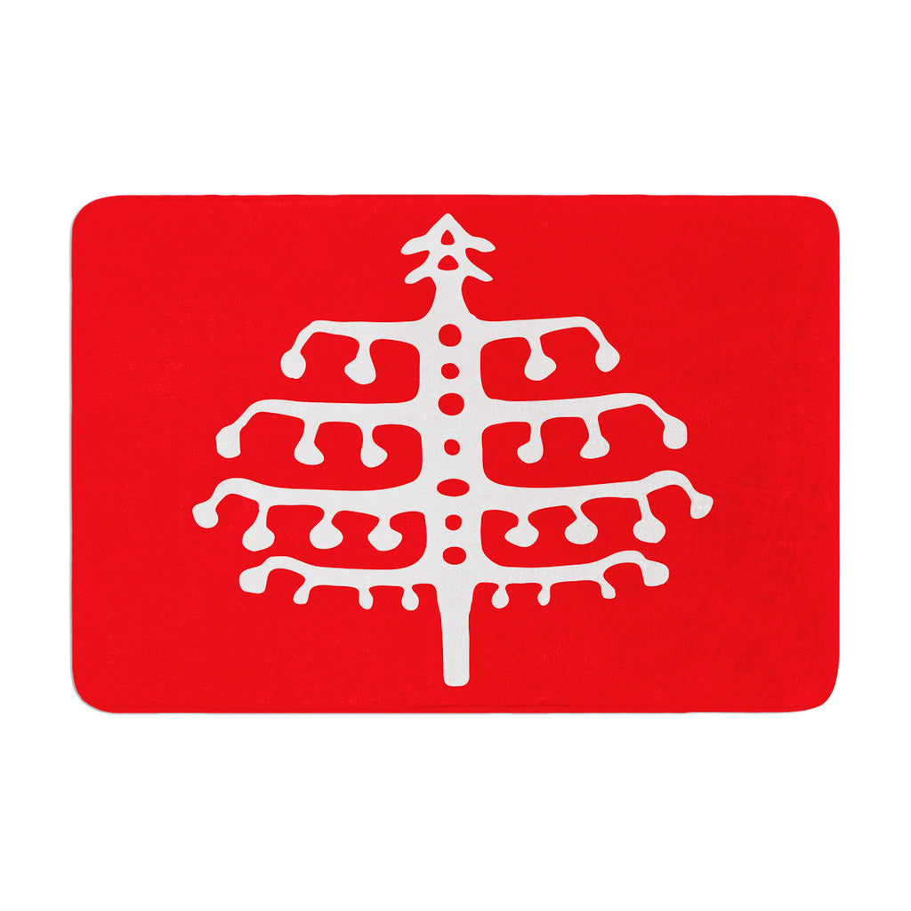 "Miranda Mol ""Deco Tree Red"" Holiday Memory Foam Bath Mat - KESS InHouse"