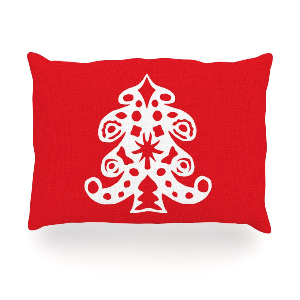 "Miranda Mol ""Noble Pine Red"" Holiday Oblong Pillow - KESS InHouse"