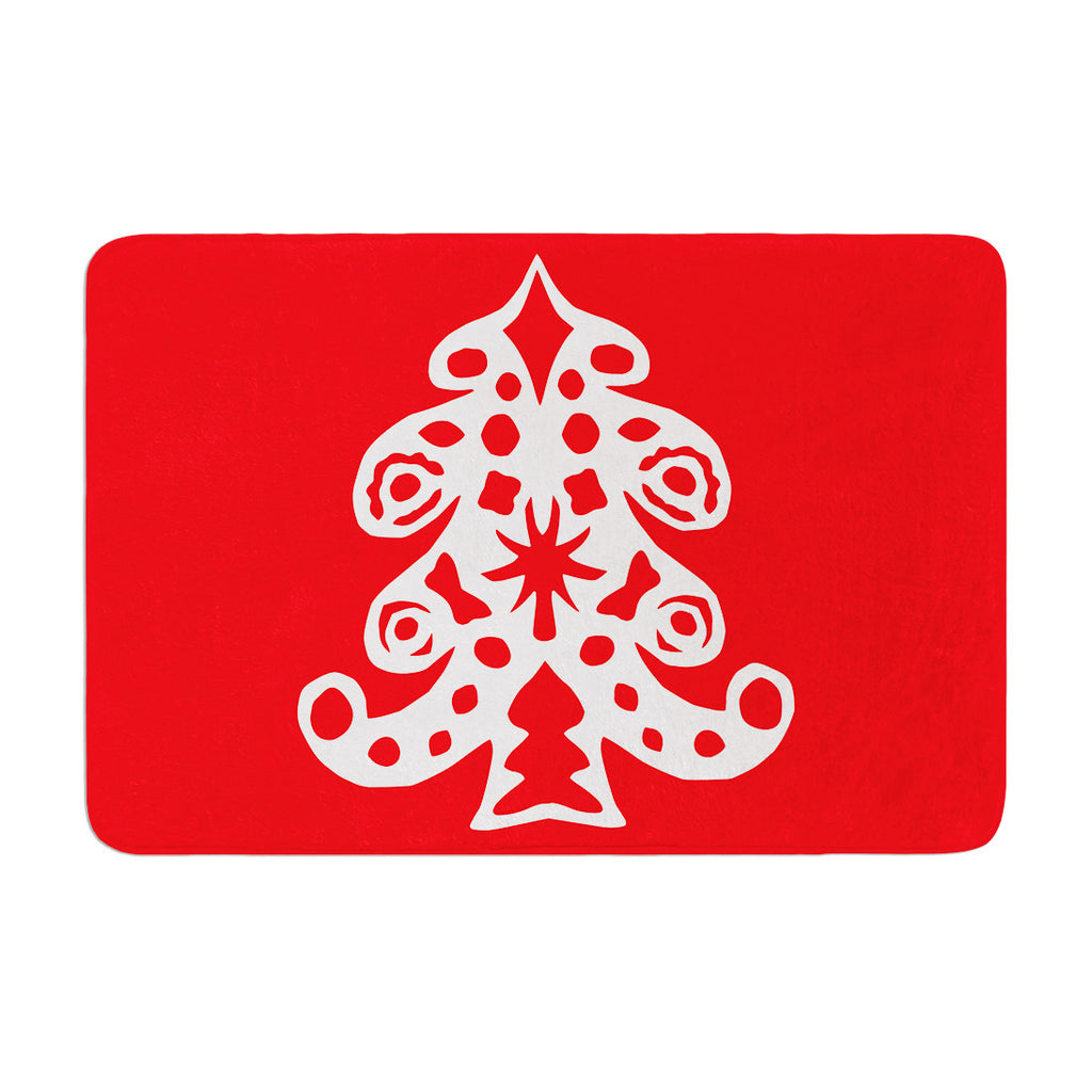 "Miranda Mol ""Noble Pine Red"" Holiday Memory Foam Bath Mat - KESS InHouse"