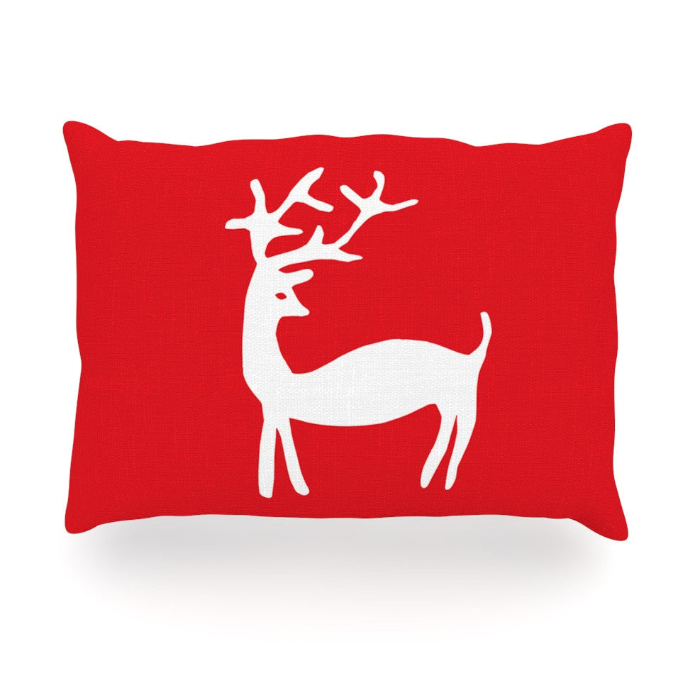 "Miranda Mol ""Reindeer Red"" Holiday Oblong Pillow - KESS InHouse"
