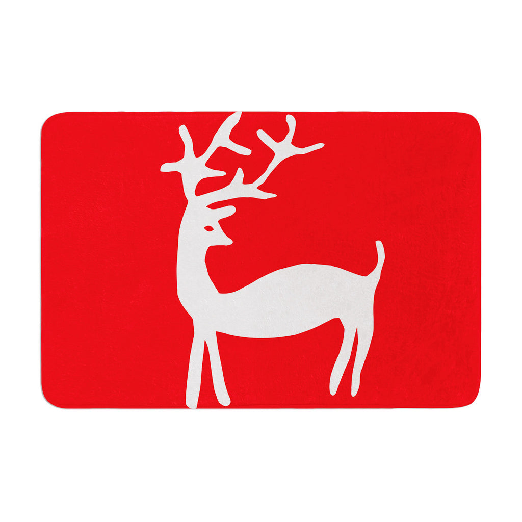 "Miranda Mol ""Reindeer Red"" Holiday Memory Foam Bath Mat - KESS InHouse"
