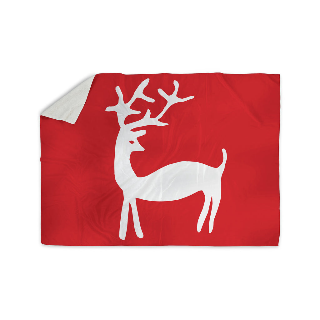 "Miranda Mol ""Reindeer Red"" Holiday Sherpa Blanket - KESS InHouse  - 1"