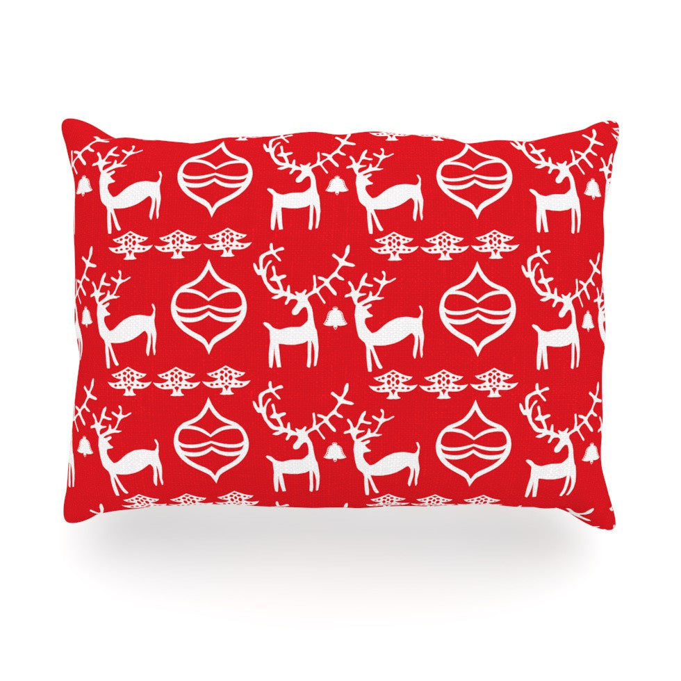 "Miranda Mol ""Antler Fun Red"" Holiday Oblong Pillow - KESS InHouse"