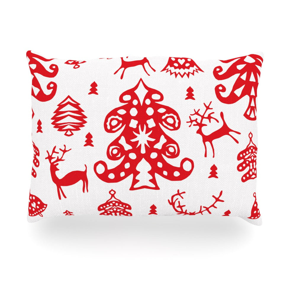 "Miranda Mol ""Frosted Landscape White"" Red Holiday Oblong Pillow - KESS InHouse"