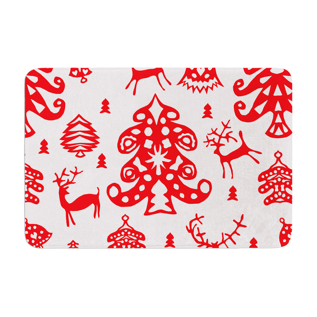 "Miranda Mol ""Frosted Landscape White"" Red Holiday Memory Foam Bath Mat - KESS InHouse"