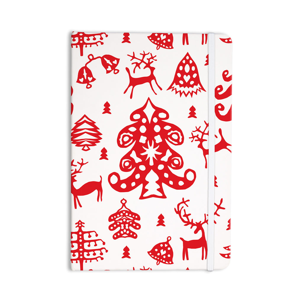 "Miranda Mol ""Frosted Landscape White"" Red Holiday Everything Notebook - KESS InHouse  - 1"