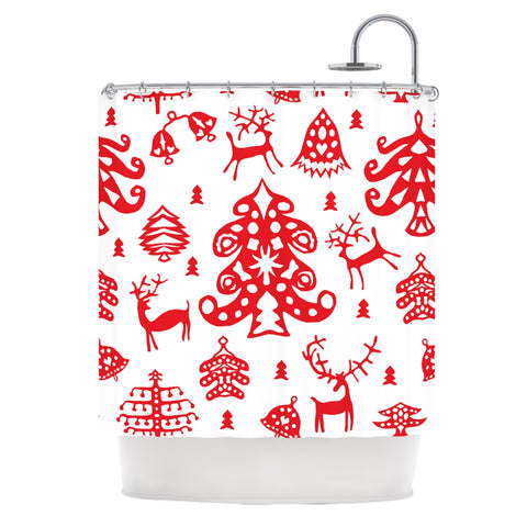 "Miranda Mol ""Frosted Landscape White"" Red Holiday Shower Curtain - Outlet Item - KESS InHouse"