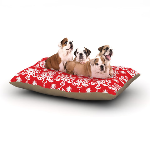"Miranda Mol ""Ornate Trees Red"" White Holiday Dog Bed - Outlet Item"