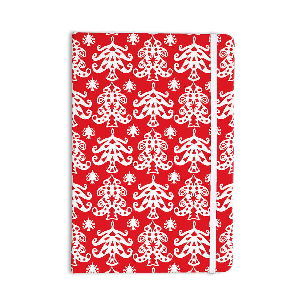 "Miranda Mol ""Ornate Trees Red"" White Holiday Everything Notebook - KESS InHouse  - 1"