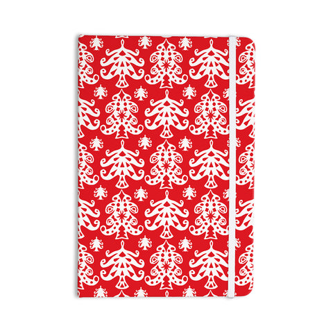 "Miranda Mol ""Ornate Trees Red"" White Holiday Everything Notebook - Outlet Item"