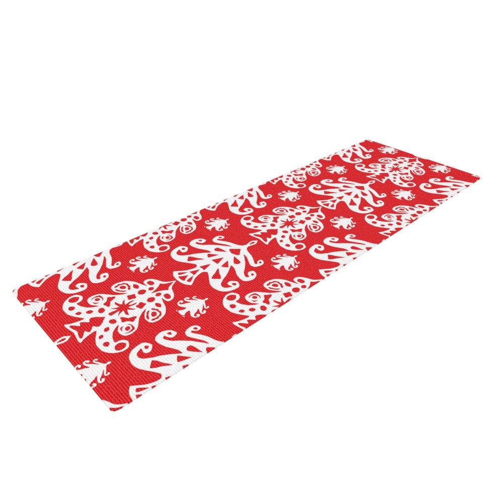 "Miranda Mol ""Ornate Trees Red"" White Holiday Yoga Mat - KESS InHouse  - 1"