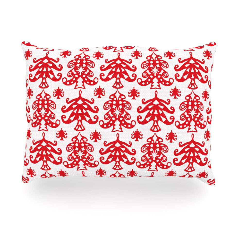 "Miranda Mol ""Ornate Trees White"" Red Holiday Oblong Pillow - KESS InHouse"
