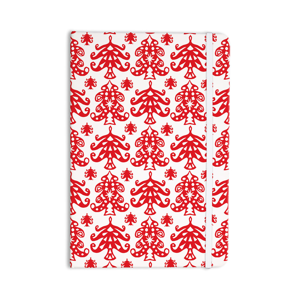 "Miranda Mol ""Ornate Trees White"" Red Holiday Everything Notebook - KESS InHouse  - 1"