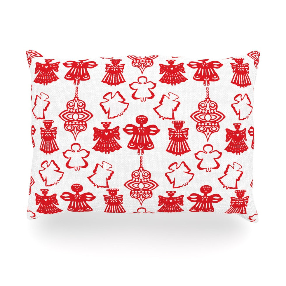 "Miranda Mol ""Angels Singing White"" Red Holiday Oblong Pillow - KESS InHouse"