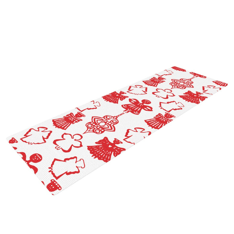 "Miranda Mol ""Angels Singing White"" Red Holiday Yoga Mat - KESS InHouse  - 1"