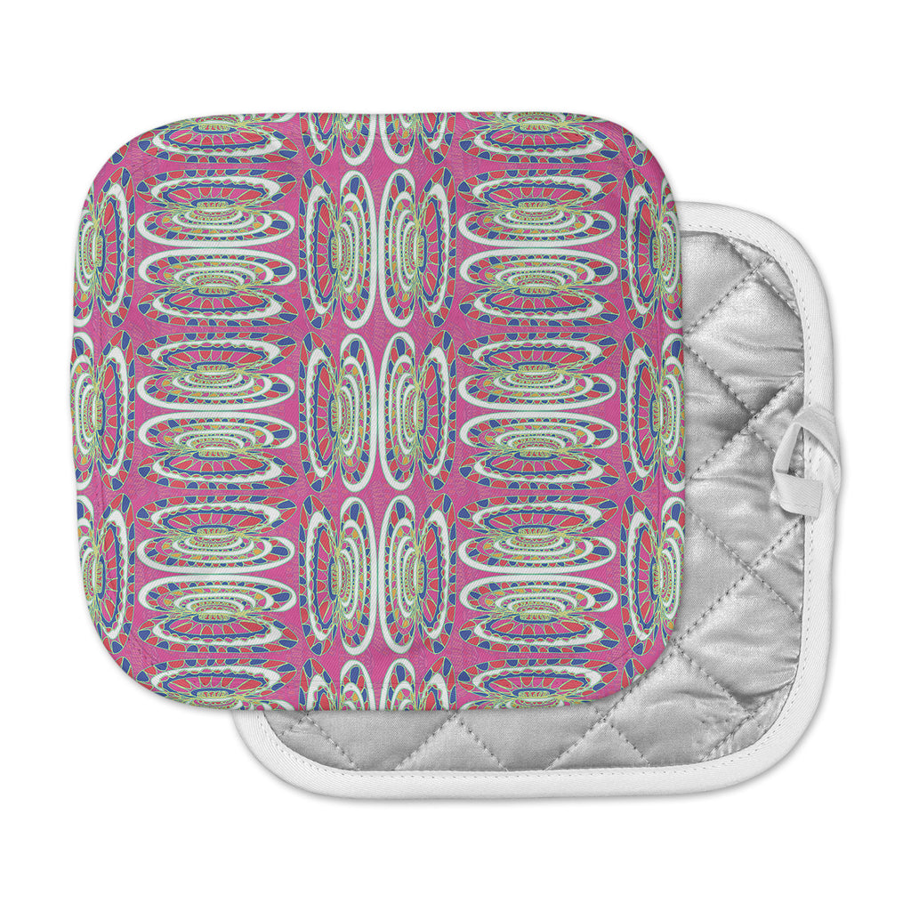 "Miranda Mol ""Bohemian Wild"" Pink Abstract Pot Holder"