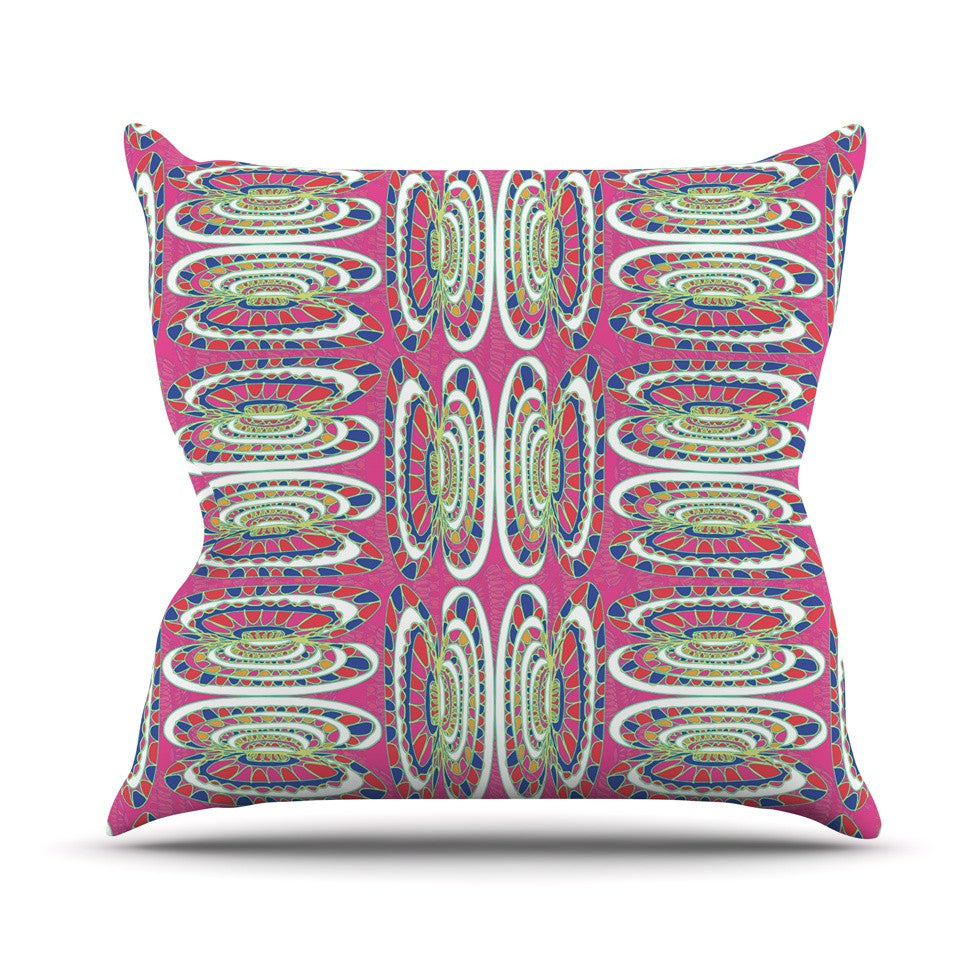 "Miranda Mol ""Bohemian Wild"" Pink Abstract Throw Pillow - KESS InHouse  - 1"