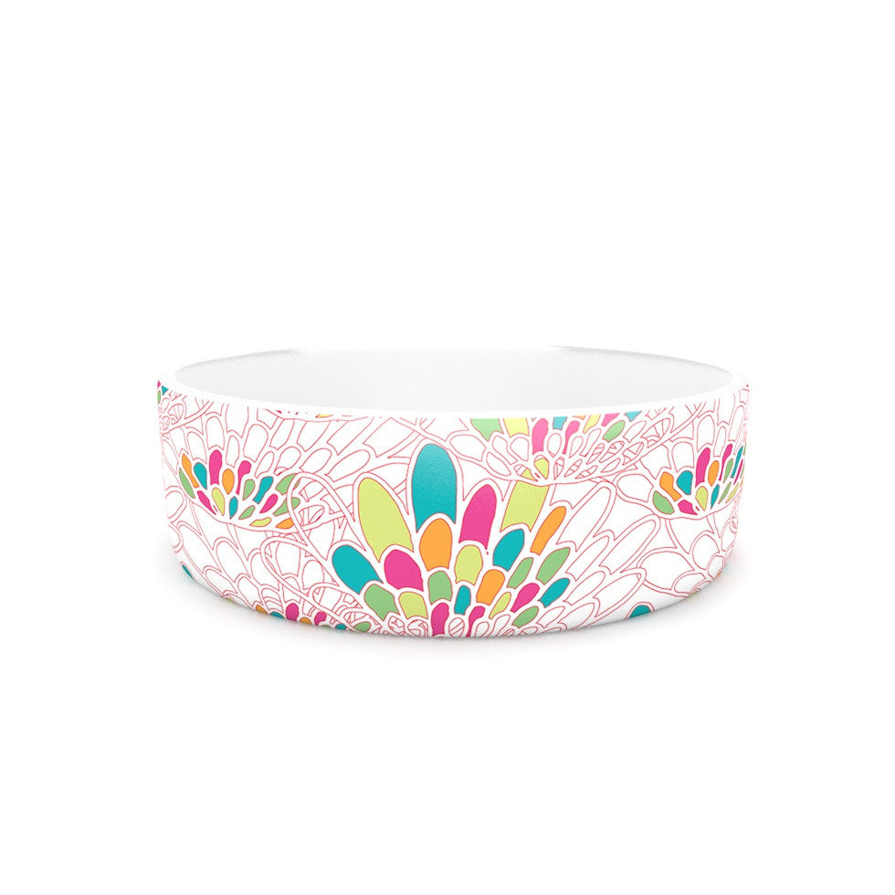 "Miranda Mol ""Blown Away"" Pink Multicolor Pet Bowl - KESS InHouse"