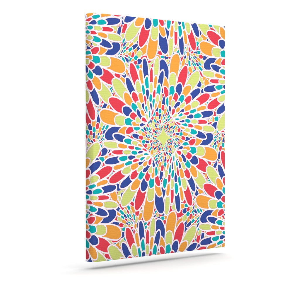 "Miranda Mol ""Flourishing Blue"" Multicolor Geometric Canvas Art - KESS InHouse  - 1"