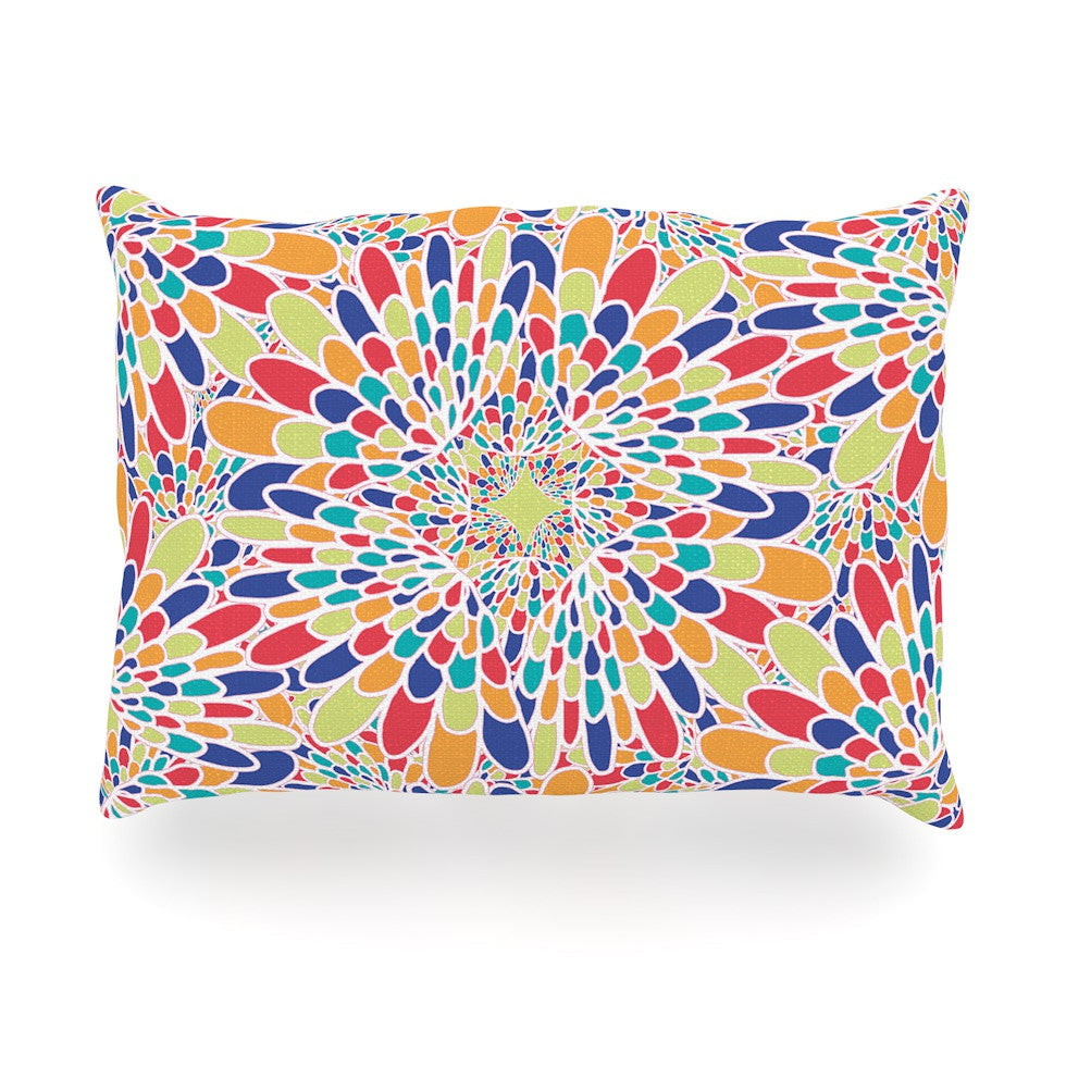 "Miranda Mol ""Flourishing Blue"" Multicolor Geometric Oblong Pillow - KESS InHouse"