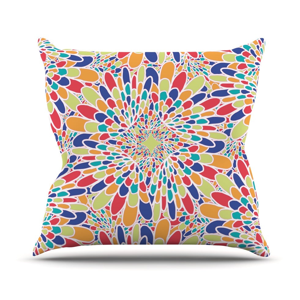 "Miranda Mol ""Flourishing Blue"" Multicolor Geometric Throw Pillow - KESS InHouse  - 1"