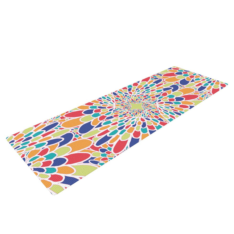 "Miranda Mol ""Flourishing Blue"" Multicolor Geometric Yoga Mat - KESS InHouse  - 1"