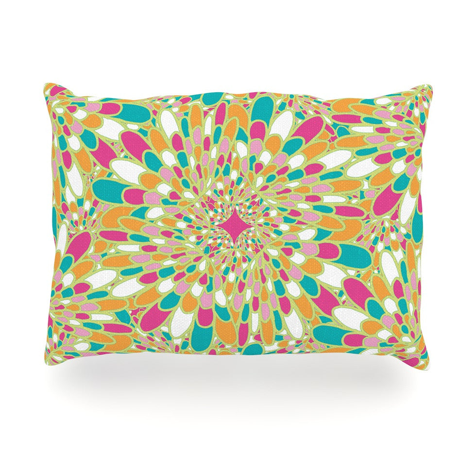 "Miranda Mol ""Flourishing Green"" Green Multicolor Oblong Pillow - KESS InHouse"