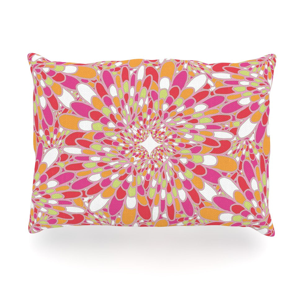 "Miranda Mol ""Flourishing Pink"" Pink Orange Oblong Pillow - KESS InHouse"